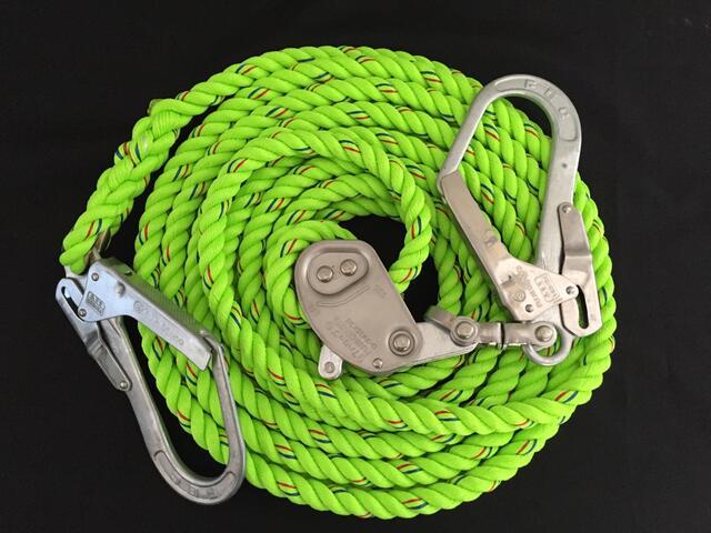 親綱ロープ/送料無料/蛍光色ロープ/シグナルロープ/蛍光シグナル親綱ロープ 16mm×20M 緊張器付