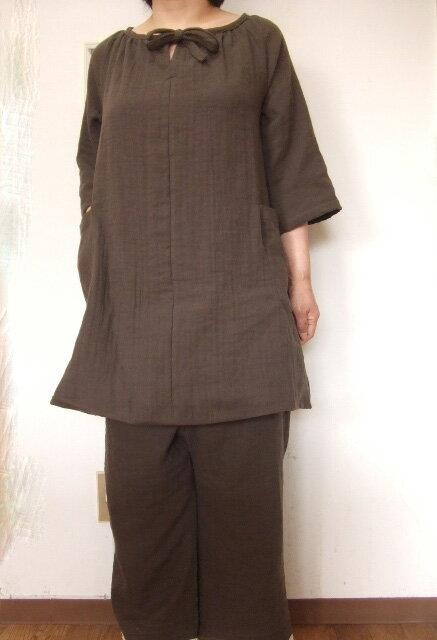 *【大きいサイズ4L~5L】ダブルガーゼ7分袖チュニック・スーツ(ルームウエアー)(8色)パンツ丈選択可(日本製)