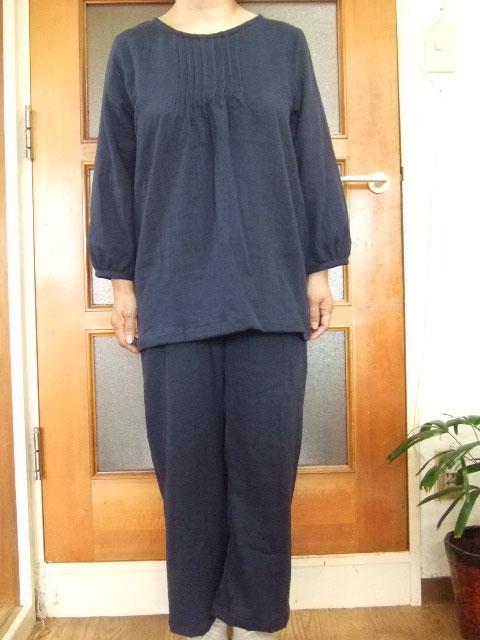 *【大きいサイズ4L~5L】ダブルガーゼ長袖チュニック・スーツ(ルームウエアー)(4色)パンツ丈選択可(日本製)