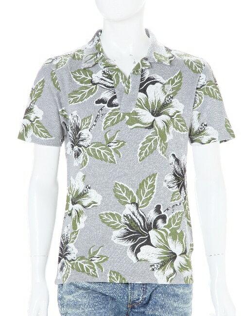 ハイドロゲン HYDROGEN ポロシャツ メンズ 160003 GREEN FLOWERS GREY HYD底値挑戦