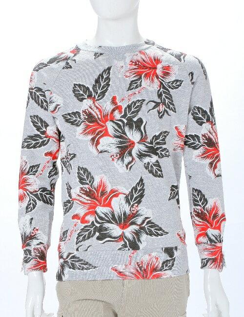 ハイドロゲン HYDROGEN ハイドロゲン トレーナー 長袖 丸首 プルオーバー スウェット ハイドロゲン メンズ 160009 RED FLOWERS GREY