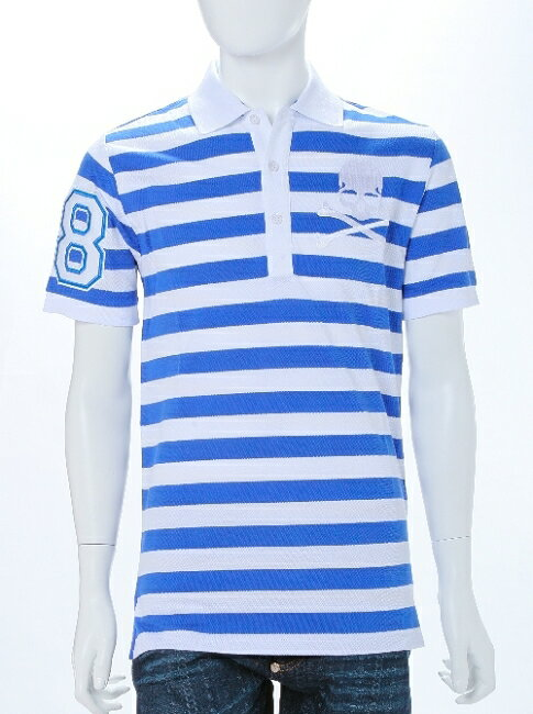 フィリッププレイン PHILIPP PLEIN ポロシャツ 半袖 メンズ SS15 HM355935 ホワイト×ブルー 楽ギフ_包装 一押値下 送料無料 アウトレット 目玉商品3弾