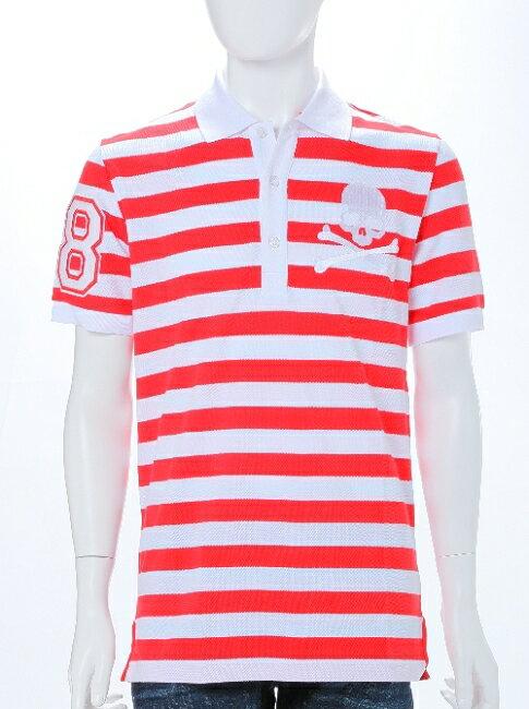 フィリッププレイン PHILIPP PLEIN ポロシャツ 半袖 メンズ SS15 HM355935 ホワイト×レッド 楽ギフ_包装 一押値下 送料無料 アウトレット 目玉商品3弾