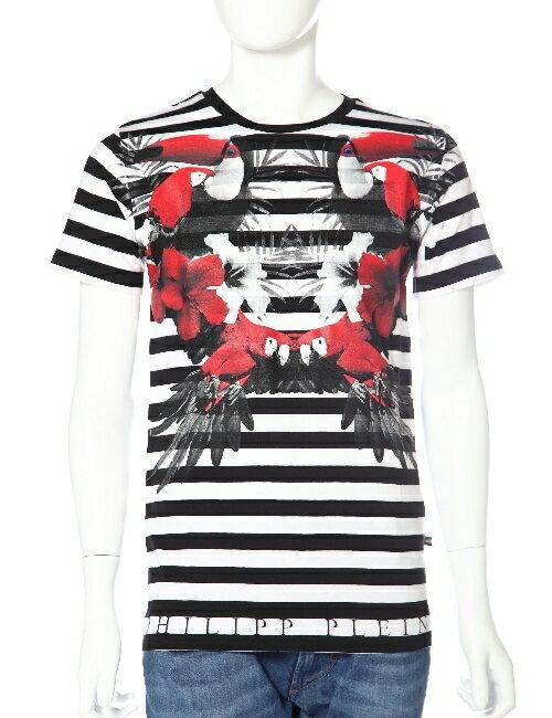 フィリッププレイン PHILIPP PLEIN Tシャツ 半袖 丸首 メンズ SS15 HM345629-3 ホワイト×ブラック 送料無料 楽ギフ_包装 一押値下