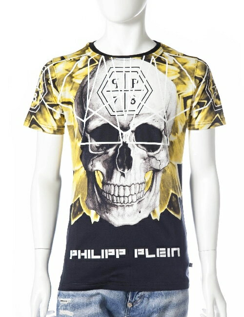 フィリッププレイン PHILIPP PLEIN フィリップ プレイン Tシャツ 半袖 丸首 メンズ FW15 HM345056 ブラック×イエロー 送料無料 楽ギフ_包装