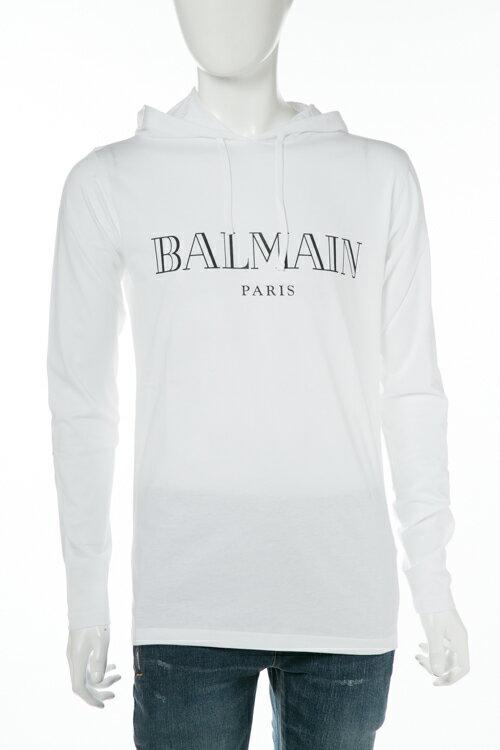 2017年秋冬新作 バルマン BALMAIN ロングTシャツ ロンT 長袖 パーカー メンズ W7H 8006 I039 ホワイト 送料無料 楽ギフ_包装