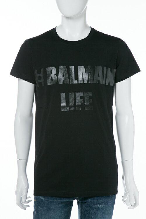 2017年秋冬新作 バルマン BALMAIN Tシャツ 半袖 丸首 メンズ W7H 8601 I041M ブラック 送料無料 楽ギフ_包装