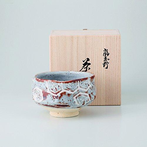 鼡志野亀甲紋茶碗 抹茶碗 手造り 手描き 美濃焼