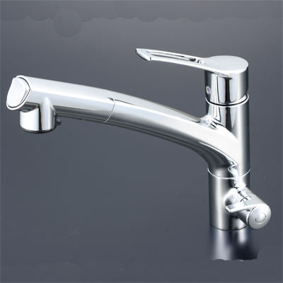 KVK 浄水器付シングルレバー式シャワー付混合水栓(シャワー引出式) 【KM5061NSC】[新品]【RCP】