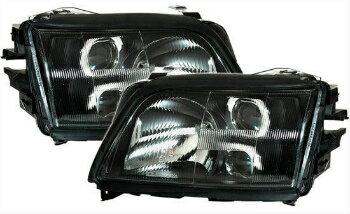 当店人気No.1の定番型 アウディ ヘッドライト Black finish headlight set for AUDI A6 C4 94-97 with fog lights  フォグランプとアウディA6 C4 94-97に設定されたブラック仕上げのヘッドライト