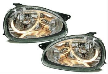 【 国内正規商品 】 オペル ヘッドライト Clear chrome finish headlights with angel eyes for Opel Corsa B 93-00  オペルコルサB 93から00のための天使の目でクリアクローム仕上げのヘッドライト