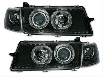 いい製品 オペル ヘッドライト clear black finish ANGEL EYES Headlights for Opel Vectra A 92-95  オペルベクトラA 92-95のための明確なブラック仕上げANGEL EYESヘッドライト