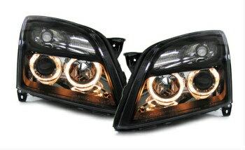新入荷 オペル ヘッドライト Clear black projector headlights with angel eyes for Opel Vectra C Signum  オペルベクトラCシグナムのための天使の目でクリアブラックプロジェクターヘッドライト