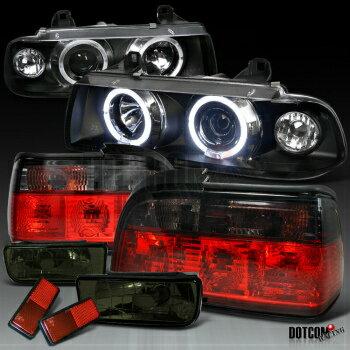 現物写真 BMW ヘッドライト 92-98 BMW E36 2DR 3-SERIES BLACK HALO PRO HEADLIGHT+SMOKE TAIL LAMP+FOG LIGHTS  92-98 BMW E36 2DR 3-SERIES BLACK HALO PROヘッドライト+ SMOKEテールランプ+ FOG LIGHTS