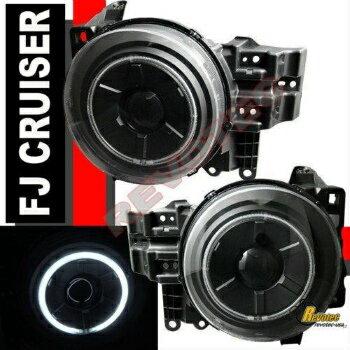 特売バーゲン トヨタ FJクルーザー ヘッドライト 2007-2014 Toyota FJ Cruiser Black CCFL Halo Angel Eye Projector Headlights 1Pair  2007-2014トヨタFJクルーザーブラックCCFLハローエンジェルアイプロジェクターヘッドライト1Pair