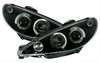 毎日新作 プジョー ヘッドライト Clear Black Headlights front lights with angel eye rings for PEUGEOT 206  PEUGEOT 206のためのエンジェルアイリングとクリアブラックヘッドライトフロントライト