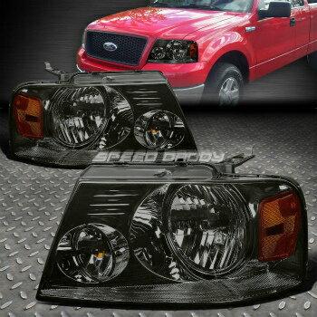 新モデル フォード リンカーン ヘッドライト SMOKED CRYSTAL HEADLIGHT AMBER REFLECTOR LAMP+BULBS FOR 04-08 F150/LOBO MARK LT  04から08 F150 / LOBO MARK LT用クリスタルヘッドライトAMBER REFLECTOR LAMP +電球を吸っ