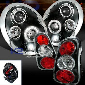 激安ブランド MINI ヘッドライト 02-04 Cooper Euro Black Halo Projector Headlight+Tail Lights  2月4日クーパーユーロブラックヘイロープロジェクターヘッドライト+テールライト