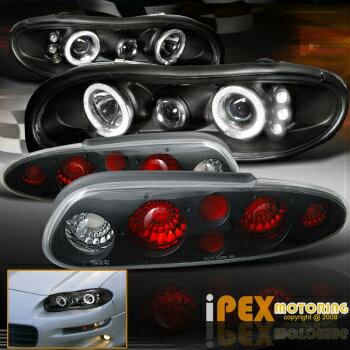 2014年モデル入荷 シボレー カマロ ヘッドライト (Black Combo) 1998-2002 Chevy Camaro Halo Projector LED Headlights + Tail Lights  (ブラックコンボ)1998年から2002年のシボレーカマロヘイロープロジェクターLEDヘッドライト+テールライト