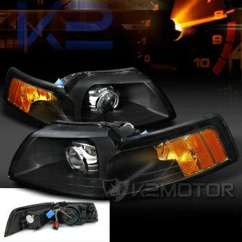 2013最新モデ フォード マスタング ヘッドライト 99-04 Ford Mustang Black New Custom Retrofit Projector Headlights  99から04フォードマスタングブラック新しいカスタムレトロフィットプロジェクターヘッドライト