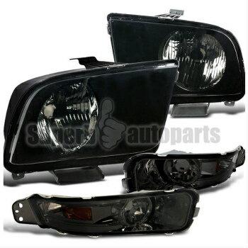 激安セール フォード マスタング ヘッドライト 2005-2009 Mustang Headlight W/ Smoke Lens Turn Signal Bumper Lamps Black  2005-2009マスタングヘッドライトW /スモークレンズは、Signalバンパーランプブラックを回し