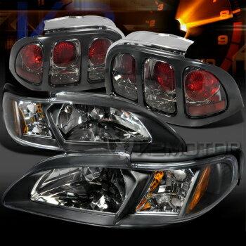 人気良品 フォード マスタング ヘッドライト 1994-1998 Ford Mustang Black Headlight Corner Lamps+Smoke Tail Lights  1994-1998フォードマスタングブラックヘッドライトコーナーランプ+スモークテールライト