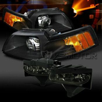 激安 フォード マスタング ヘッドライト 99-04 Mustang Black Custom Retrofit Projector Headlights+Smoke Fog Lamps  99から04マスタングブラックカスタムレトロフィットプロジェクターヘッドライト+フォグランプスモーク