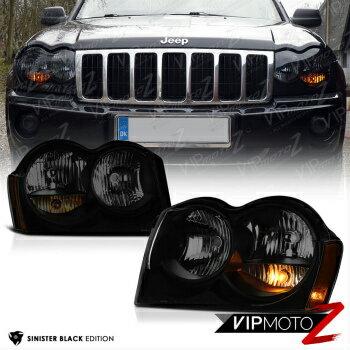 在庫限りの大特価 クライスラー Jeep ヘッドライト 2005-2007 Jeep Grand Cherokee Darkest Smoke Sinister Black Headlights Left Right  2005-2007ジープグランドチェロキー暗黒の煙シニスターブラックヘッドライト左右