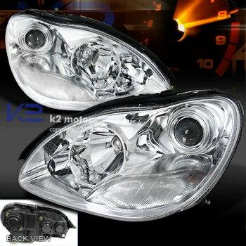 ベンツ ヘッドライト 2000-2005 Mercedes Benz W220 S-Class Projector Headlights Halogen Lamps Chrome  2000-2005メルセデスベンツW220 Sクラスのプロジェクターヘッドライトハロゲンランプクローム