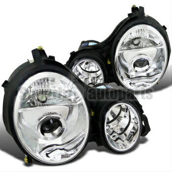 【防水】 ベンツ ヘッドライト 2000-2002 Mercedes Benz E-Class E320 E430 Projector Headlights W210 Chrome Clear  2000-2002メルセデスベンツEクラスE320 E430プロジェクターヘッドライトW210クロームクリア