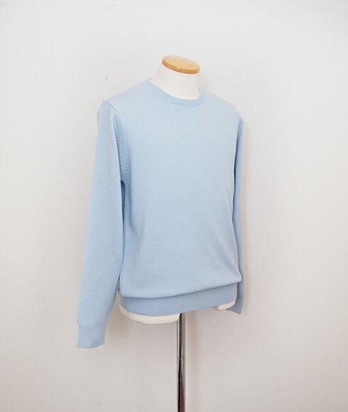 おすすめ特集 【アウトレット】カシミヤ100% メンズ 丸首セーター  カラー:ベビーブルー サイズ:M 50%OFF UTOアウトレット