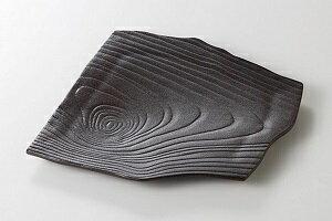 美濃焼 炭化 木目変形角皿 5個セット