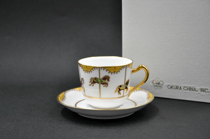 大倉陶園 回転木馬コーヒーカップ&ソーサー[容量/180cc][デミタス][コーヒー碗皿]