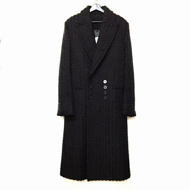未使用品 アンドゥムルメステール ANN DEMEULEMEESTER 15AW 装飾 ウール ロングコート チェスター ダブル ブラック 黒 S メンズ 【中古】【ベクトル 古着】 170821 VECTOR×Refine