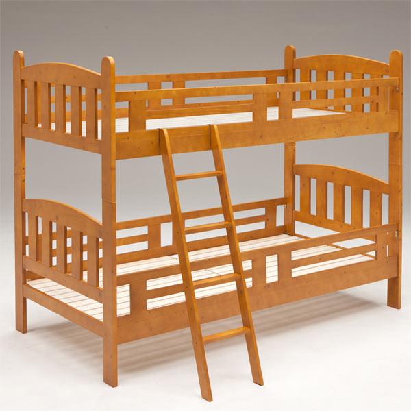 2段ベッド ベッド ベット 木製 すのこベッド はしご付き 子供部屋 キッズ家具 シンプル モダン ブラウン 北欧 木製 カントリー パイン材 送料無料 楽天 通販