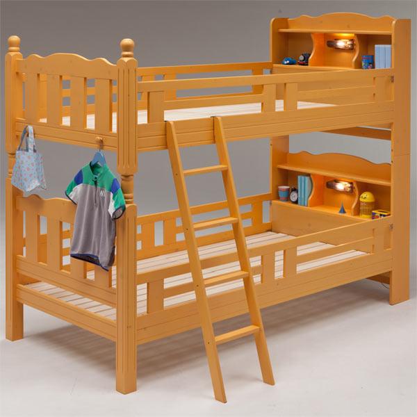 2段ベッド ベッド ベット 木製 すのこベッド 機能付きベッド 宮付き 棚付き ライト付き はしご付き 子供部屋 キッズ家具 シンプル モダン ナチュラル 北欧 木製 パイン材 送料無料 楽天 通販