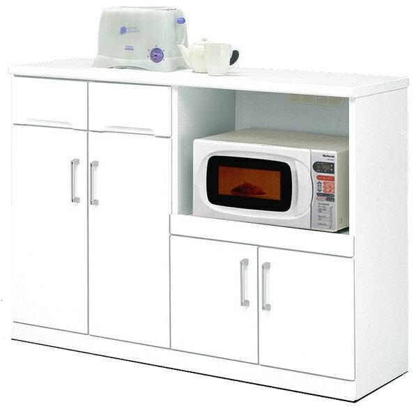 キッチンカウンター 幅120cm キッチン収納 隠しキャスター付き 鏡面ホワイト シンプル 北欧 木製 日本製 完成品 送料無料 楽天 通販
