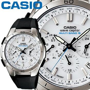 カシオ ウェーブセプター M410 クロノグラフ メンズ ホワイト 樹脂バンド マルチバンド6 ソーラー電波時計