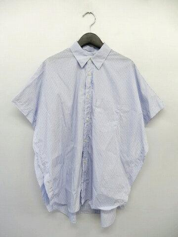 15SS 美品 コムデギャルソンシャツ COMME des GARCONS SHIRT ストライプ柄 ポンチョスリーブ シャツ 変形 カットソー S23063 サイズXS 青×白 メンズ 【中古】【ベクトル 古着】 170828 ベクトル マークスラッシュ