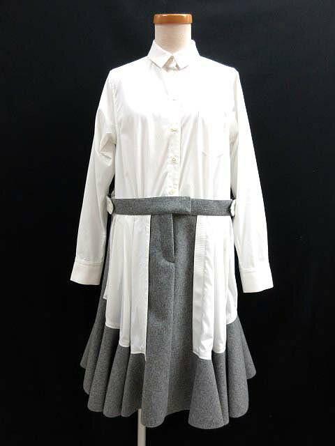 サカイ sacai ドッキング シャツ ワンピース 圧縮ウール コンビ Shirt Dress Cotton 2 白 グレー レディース 【中古】【ベクトル 古着】 170610 ブランド古着ベクトルプレミアム店