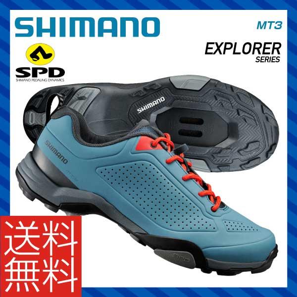 (送料無料)(SHIMANO)シマノ MTB マウンテンツーリング SPD SHOES シューズ MT3 ブルー
