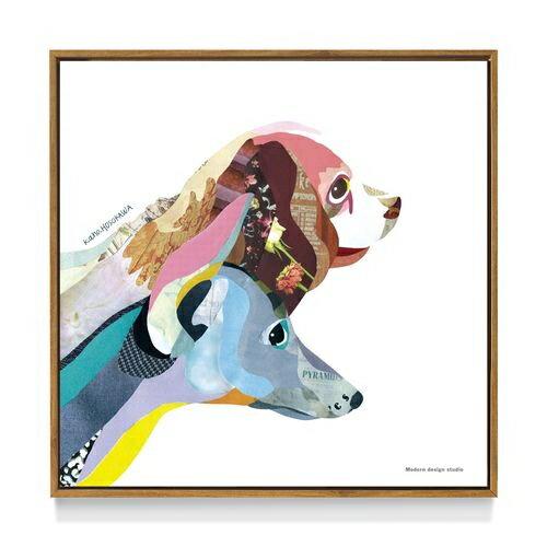 【送料無料】アートポスター フレーム 付 インテリア パネル  kaho HOSOKAWA Dog 犬 いぬ雑貨 デザイン 50×50cm 美工社 お洒落額付 絵画通販 【取寄品】【プレゼント】ベルコモン【結婚祝い】【引越し祝い/新築祝い/開業祝い】