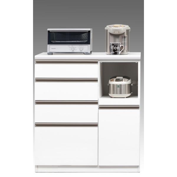 【開梱設置費込】キッチンカウンター ESシリーズ 90cm幅 レンジ台 ホワイト色 ハイタイプ 【日本製】【代引不可】 送料込!