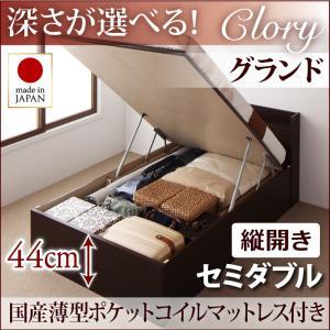 国産ガス圧式跳ね上げ収納ベッド Clory クローリー 国産薄型ポケットコイルマットレス付き 縦開き セミダブル 深さグランド