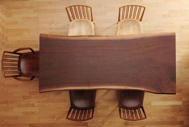 一枚板 テーブル 一枚板テーブル ダイニングテーブル ダイニング リビングテーブル ウォールナット 激安 価格 通販 木の家具 新築 リフォーム 和風モダン  無垢板 天然木 送料込み 220cm【送料無料】ウォールナット 一枚板テーブル(脚付)