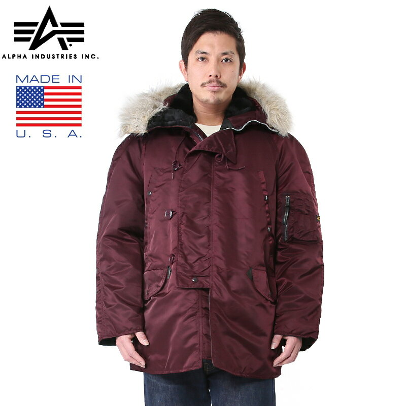 20%OFFクーポン対象商品!ALPHA INDUSTRIES アルファ MADE IN U.S.A N-3Bフライトジャケット MAROON《WIP》メンズ アウター ジャケット フライトジャケット N-3B N3B USA デッドストック 米軍 アメリカ軍 秋 冬 春 防寒 ギフト プレゼント