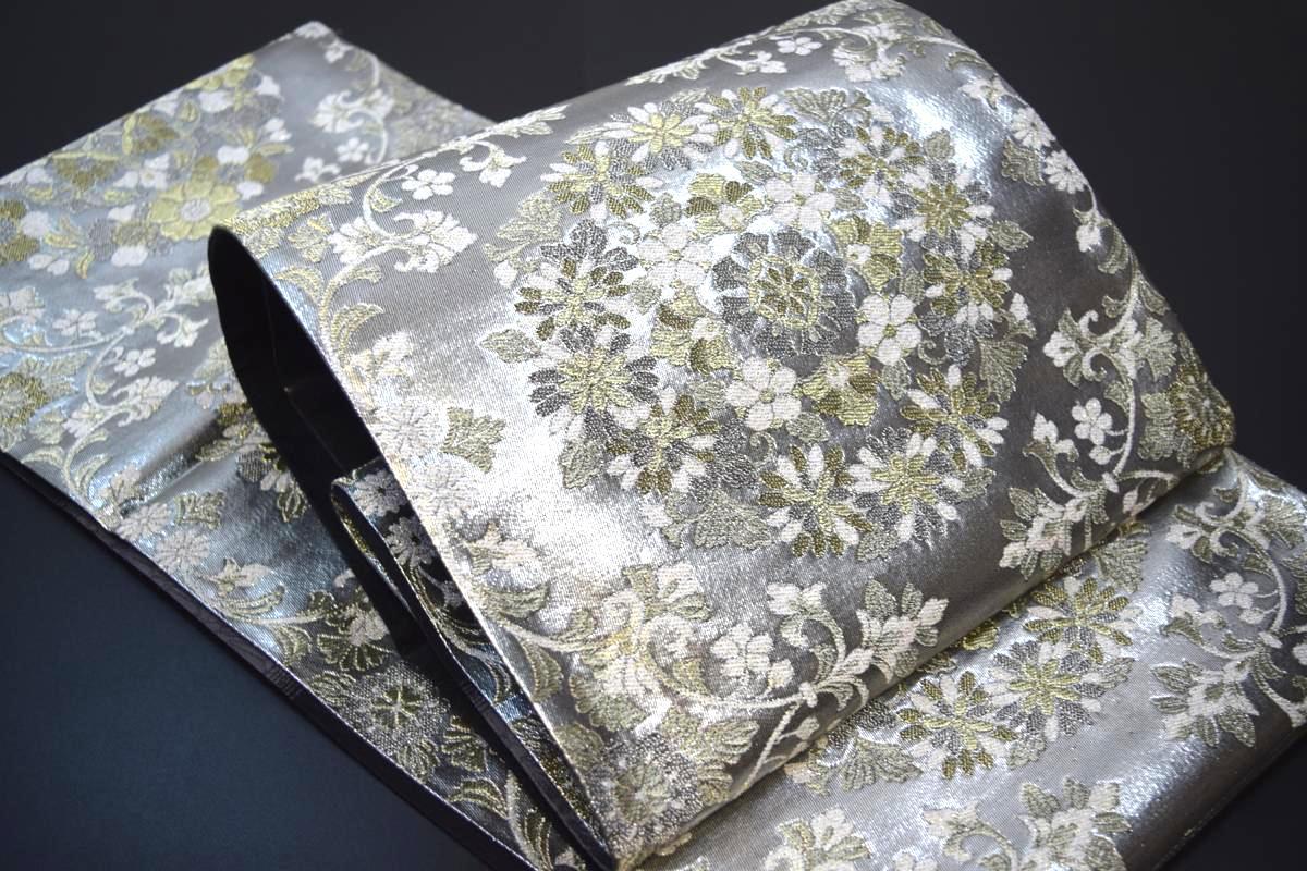 【訪問着・色無地・附下・振袖・留袖】西陣織正絹袋帯「銀花模様」【10P03Dec16】