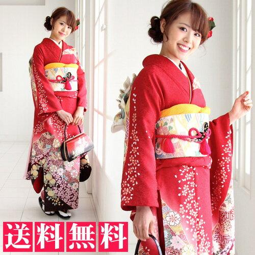 【最大20日間レンタル】 正絹 振袖 レンタル 成人式 セット 20点フルセット 「赤 桜 菊 鹿の子」成人式から結婚式やフォーマルまで。 着物 kimono フリソデ ふりそで rental れんたる せいじんしき セイジンシキ着物レンタル 貸衣装【fy16REN07】