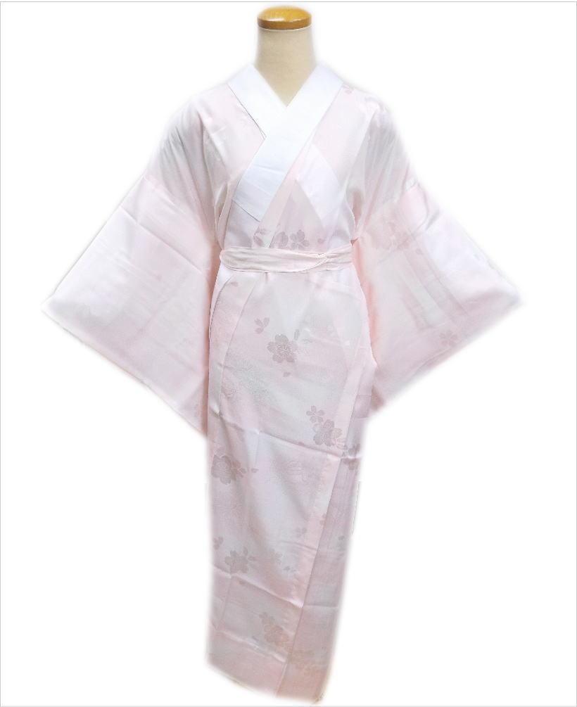 お仕立上がり正絹長襦袢(長地袢)薄ピンクM・L 和装着物下着 着心地抜群 女性用レディース