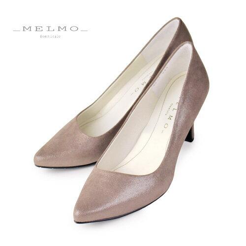 MELMO 靴 メルモ パンプス 6921 ダークゴールド ポインテッドトゥ ヒール 2E 抗菌 防臭